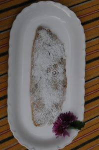 large stollen on the tray
