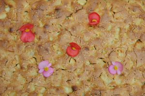 apple sheet cake decorated with flowers