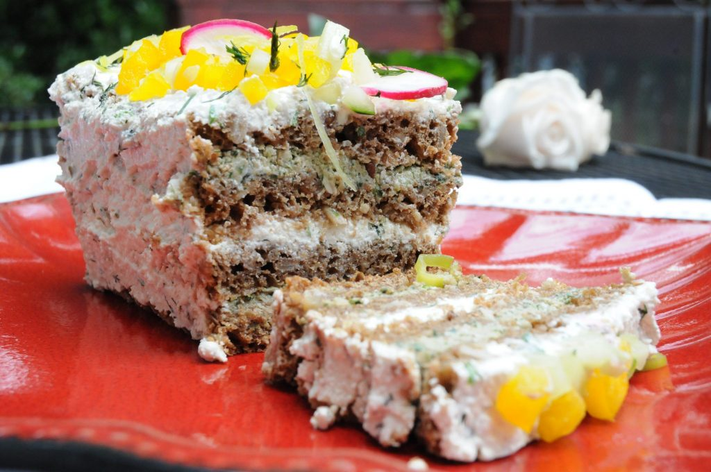 bread cake layered with spread