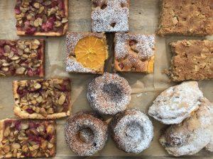 tray of tarts and cakes