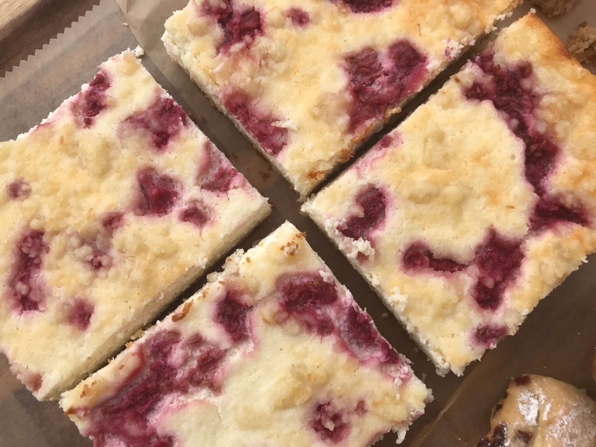 raspberry coconut farmers cheese cake