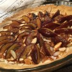 plum cake with marzipan and almonds in the cakepan