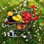shopping cart with veggies
