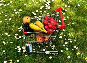 shopping cart with veggies
