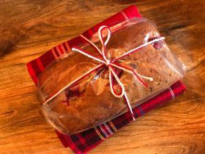 spelt pound cake with decorative kitchen towel