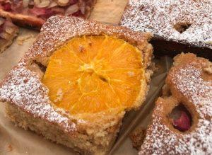 slice of spelt rhubarb orange cake