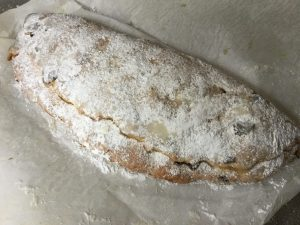 large stollen with marzipan